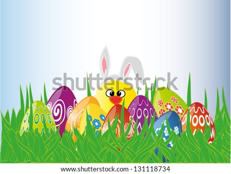Colorful Easter eggs in the grass and chick with bunny ears, vector illustration