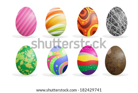 Colorful Easter eggs set vector illustration #182429741