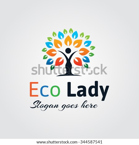 colorful eco lady logo