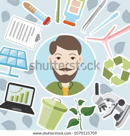 Colorful ecologist icon.Vector illustration.