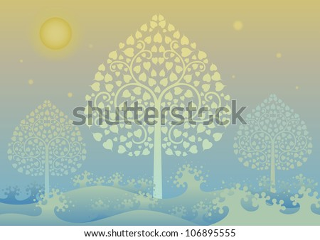 Colorful editable vector illustration of Gold tree and thai pattern style