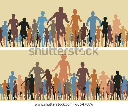 Colorful editable vector silhouettes of many people running