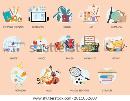 Colorful education and school lesson subjects icons. High school and preschool classes stickers, symbols or signs collection. Set of isolated flat cartoon vector illustrartions Foto stock ©
