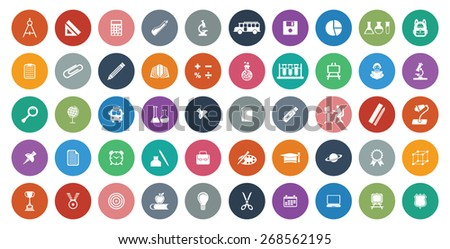 Colorful educational icon set