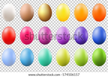Colorful Eggs Set With Gradient Mesh, Vector Illustration