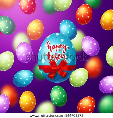 colorful  eggs with bow and