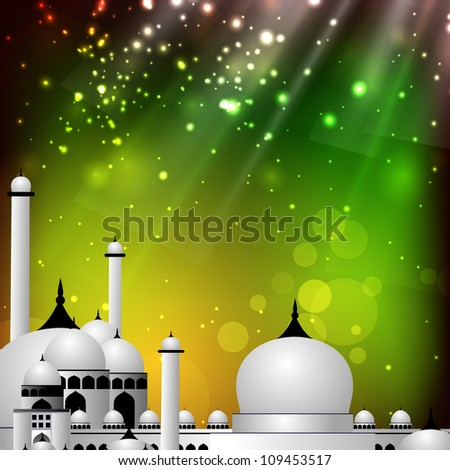 Colorful EId Mubarak background with Mosque and Masjid image. EPS 10.