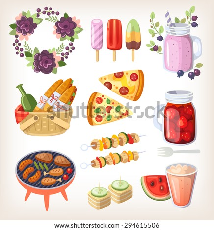 Colorful elements and food for recreation at hot summer day and evening