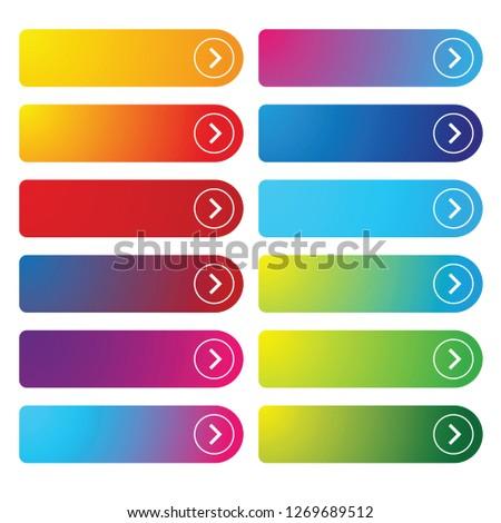 Colorful empty web button set