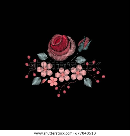 Colorful ethnic floral pattern embroidery with flowers. Traditional folk decoration of flowers on a black background for design. For Fashion.