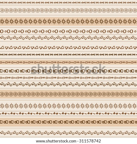 Colorful ethnic seamless pattern design with strips. Vector illustration. Beige monochrome seamless pattern. African motive background #311578742