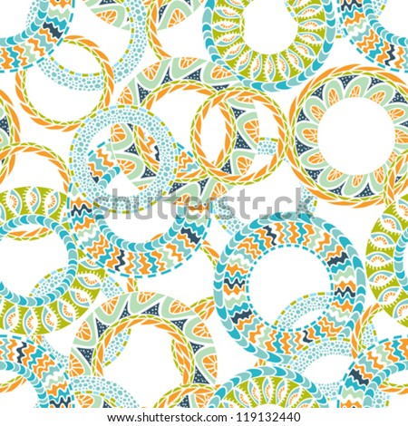 Colorful ethnicity round ornament,  vector seamless pattern.
