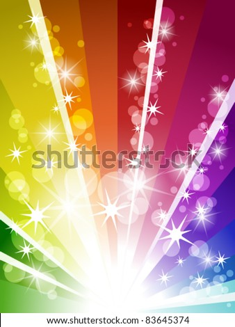 Colorful explosion of rainbow - stock vector