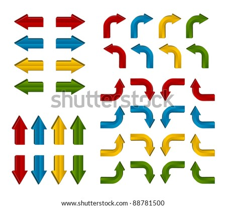 Colorful extruded and beveled arrows