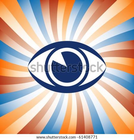 Colorful eye sunburst vector. - stock vector