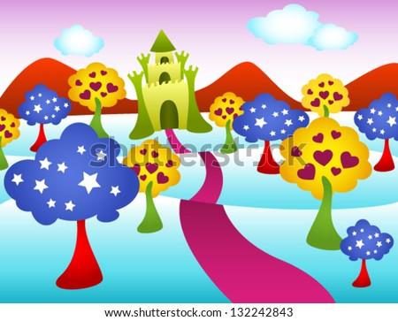 colorful fairy tale castle