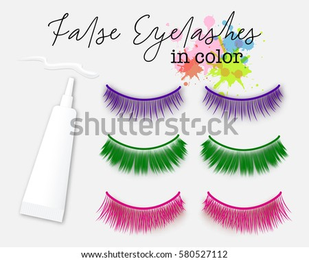 Colorful false eyelash extensions with glue tube. Carnival accessories make up.