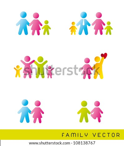 colorful families over white background. vector illustration
