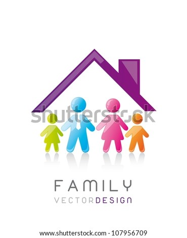 colorful family with house, conceptual. vector illustration