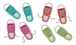 Colorful fashion sneakers isolated on white background. Top view. Casual youth shoes. Vector illustration
