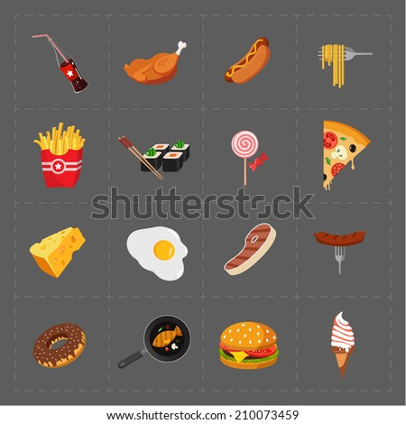 Colorful Fast Food Icon Set on Grey Background