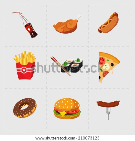 colorful fast food icon set on