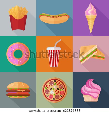 colorful fastfood flat icons on