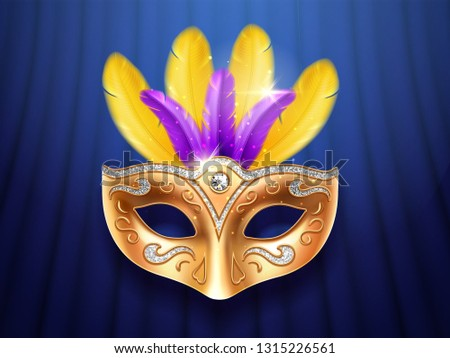 Colorful feather masquerade mask with diamonds. Carnival or party, festival celebration golden face cover. Part of theater costume. Colombina masque design for mardi gras festive. Celebration theme