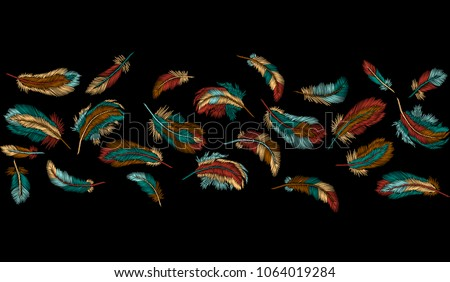 Colorful Feathers Embroidery Seamless Border Stripe Boho Tribal Clothes Indian Bird Classic Embroidered Background