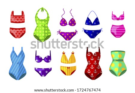 Colorful female beachwear, swimwear, lingerie assortment. One-piece, two-piece swimming suit, bathing costume fashion flat icons set. Maillot, bandeau, bikini. Vector swimsuit isolated on white.