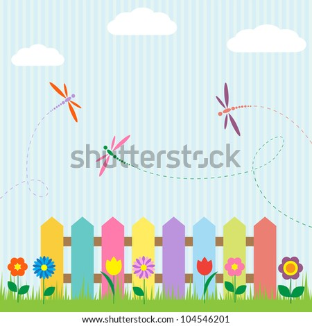 colorful fence with flowers and