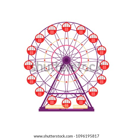 Colorful ferris wheel, amusement park element in flat style isolated on white background. Family entertainment, merry-go-round, funfair carnival vector illustration