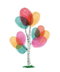 Colorful fingerprint tree made of human finger print. Identity concept, environment help or nature care. EPS10 vector.