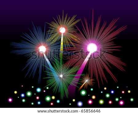 Colorful firework in the night sky. Vector illustration.