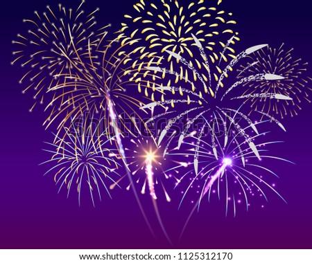 colorful firework set bursting