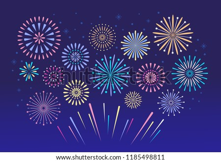 Colorful fireworks. Celebration fire firework, christmas pyrotechnics firecracker for winter party festival Xmas celebration or anniversary firecracker background isolated vector set