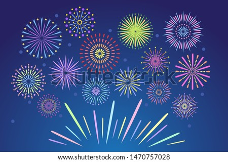 Colorful fireworks. Celebration fire firework, christmas pyrotechnics firecracker for winter party festival birthday celebration or anniversary firecracker background isolated vector set