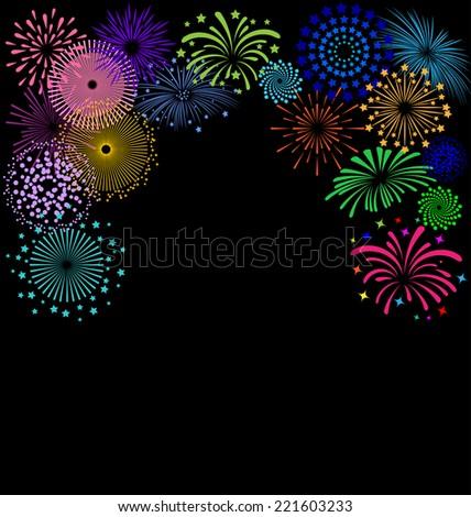 colorful fireworks  frame on