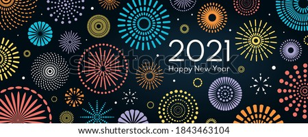 Colorful fireworks 2021 New Year vector illustration, bright on dark blue background, text Happy New Year. Flat style abstract, geometric design. Concept for holiday decor, card, poster, banner, flyer stock photo