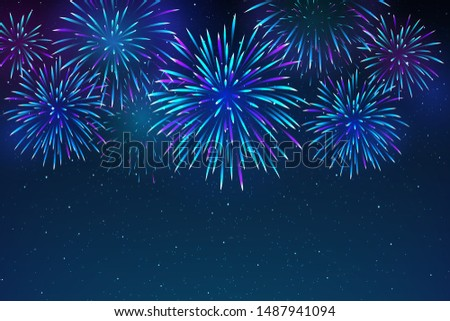 Colorful fireworks on a dark blue background. Beautiful festive sky for bright design. Bright fireworks in the night sky with stars. Vector illustration