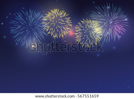 colorful fireworks on twilight