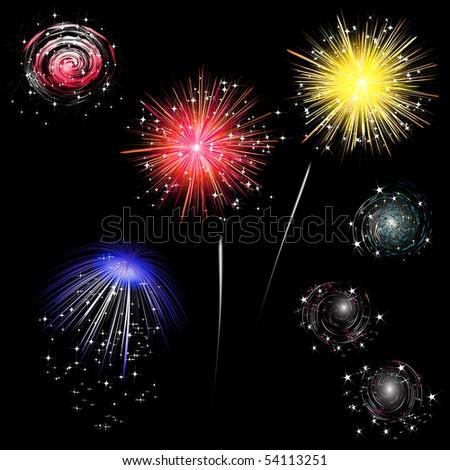 colorful fireworks - set