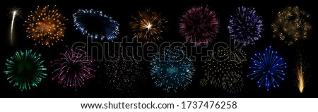 Colorful fireworks. Sparkling firework festive, holiday carnival firecracker explosion bang and abstract burst in night sky for congratulation card design. Realistic 3D vector illustration set