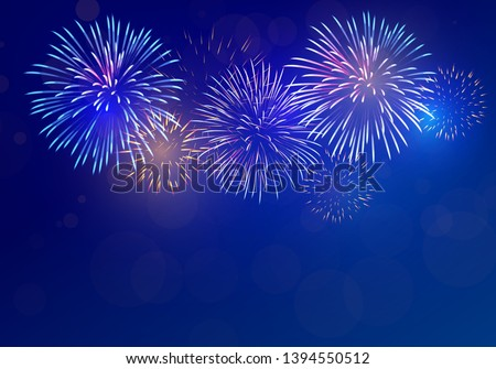 colorful fireworks vector on dark blue background with sparking bokeh
