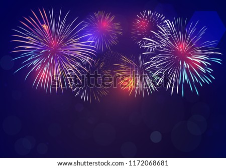 colorful fireworks vector on dark blue background with sparking bokehs