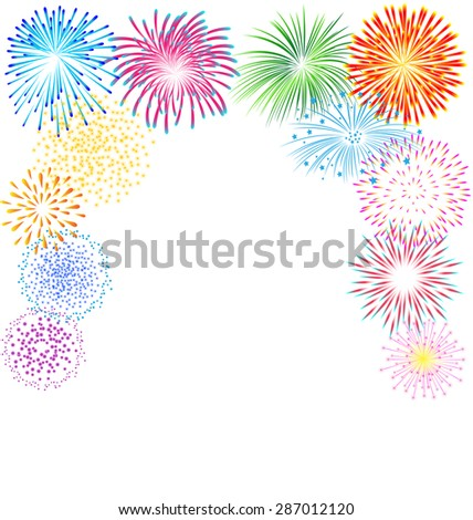 colorful fireworks vector on