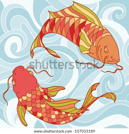 Colorful fish in the sea waves hand drawn card