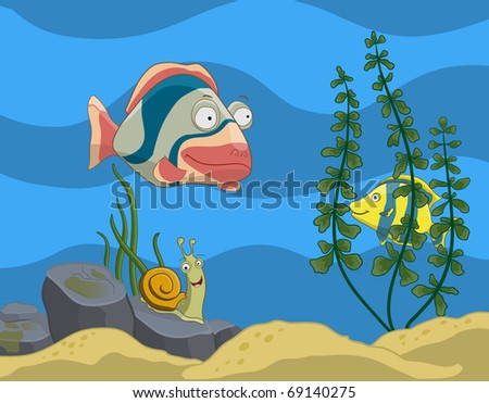 Colorful fish tank with tropical fishes, snail and plants. All objects are situated on separate layers.