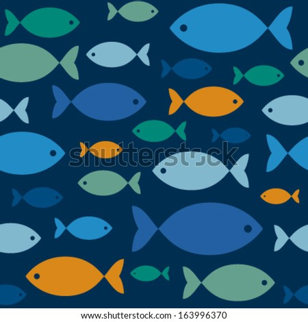 colorful fishes on blue seamless pattern