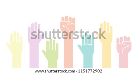 Colorful fists hands up vector illustration. Concept of unity, revolution, fight, cooperation. Vector illustration, flat design
